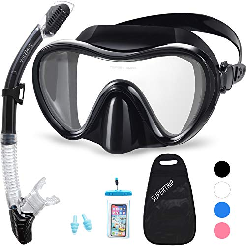 Supertrip Snorkel Set Adults-Anti-Fog Film Scuba Diving Mask Impact Resistant Panoramic Tempered Glass Easybreath Anti-Leak Dry Top Snorkeling Packages with Waterproof Case & Carrying Bag (Black)