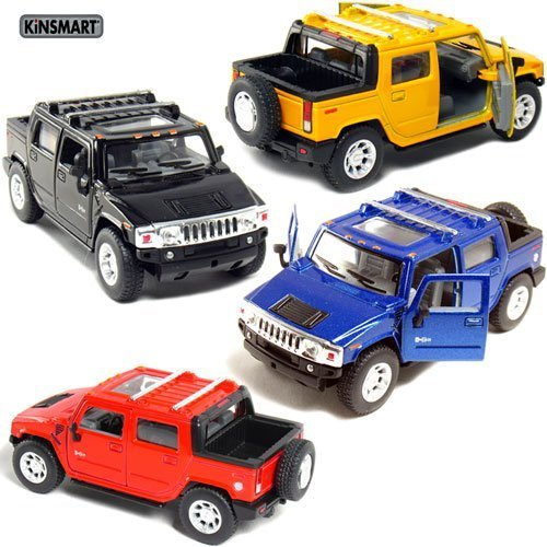 Set of 4: 5 2005 Hummer H2 SUT 1:40 Scale (Black/Blue/Red/Yellow) by Kinsmart ()