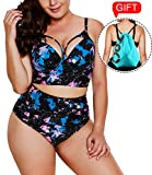 Camlinbo 2018 Women's Plus Size Swimsuit High Waisted Ruffles Push up Halter Bikini Set (XL(US 14-16), A-Nebula Fish)