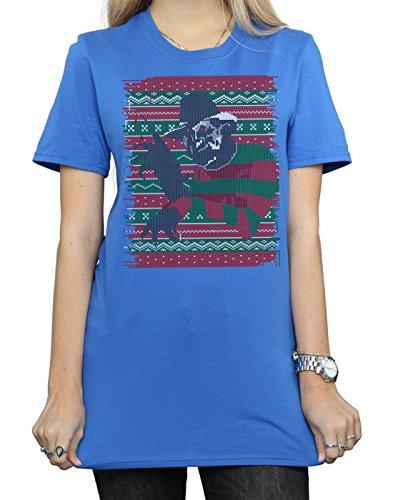 Navidad Fit Boyfriend Elm Mujer Street Nightmare camiseta Blue Isle Feria de Royal On aqzxxwY