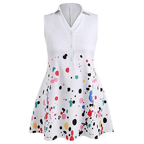 Plus Size Dresses, FORUU Womens Casual Splash Printed Sleeveless Polo Top Blouse White ()