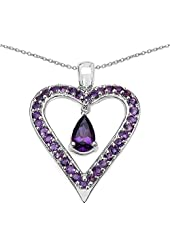 Natural Amethyst Heart Shaped Pendant Necklace in 92.5 Sterling Silver. 18 inch long Sterling Silver chain
