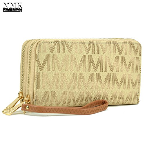 MMK Collection PU Leather Newest All Season Classic Unisex Double Zipper Closure Roomy Fashion Wallet with Wristlet (MLW-MM5770-BG) by Marco M. Kerry (Image #6)