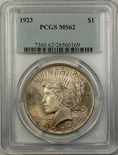 1923 Peace Silver Dollar Coin (ABR14-C) Light Toning $1 MS-62 PCGS