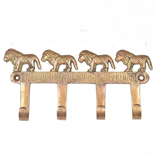 Wall Brass Set Hanger (IndianShelf Handmade 2 Piece Brass Set of with Lions Vintage Artistic Wall Coat Hooks/Cloth Hangers/Keys Holders)