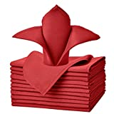 VEEYOO Oversized 20x20 Solid Polyester Cloth Napkins for Wedding Restaurant Dinner Use Set of 12, Red