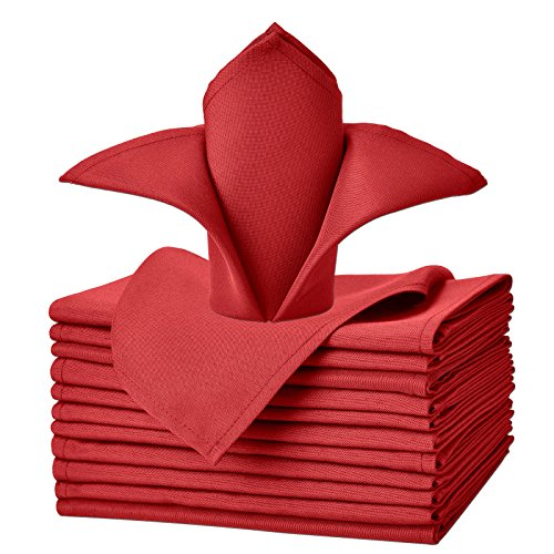 (VEEYOO Cloth Napkins Set of 12 Pieces Solid Polyester Napkins Soft Fabric Washable and Reusable Dinner Napkin for Banquet Wedding Restaurant (Red, 17x17))