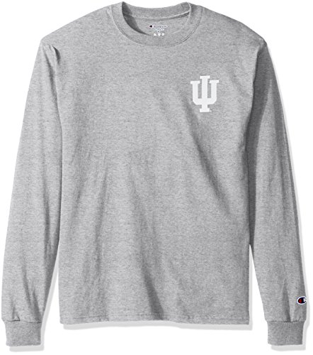 NCAA Indiana Hoosiers Men's Champ Long Sleeve Tee 1, Medium, Oxford Heather