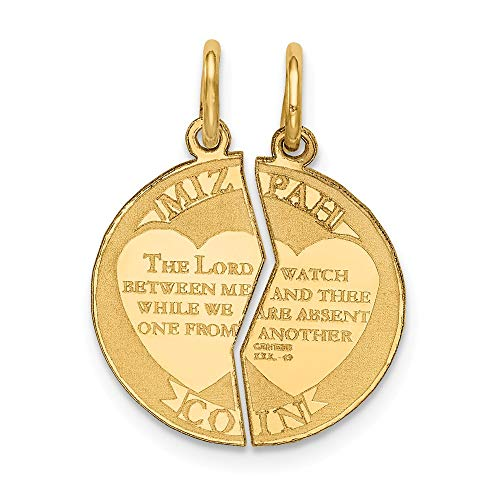 14k Yellow Gold Break Apart Mizpah Coin Emotional Bond Words Charm 22x17mm ()