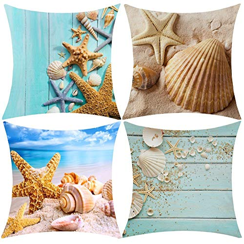 Wilproo Nautical Coastal Decorative Throw Pillow Covers, Starfish Seashell Sand Couch Beach Burlap Decorative Cushion Covers 18 x 18 Inch Sea Theme Home Decorative Pillowcases, 4 -