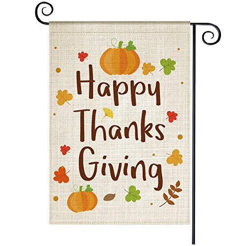 Fall Garden Flag, Happy Thanksgiving Vertical Double Sided Pumpkin Yard Flag, Weather and Fade-Resistant Burlap 12.5 x 18 Inch, Holiday Outdoor Decor for House Garden Lawn Patio(Happy Thanksgiving)