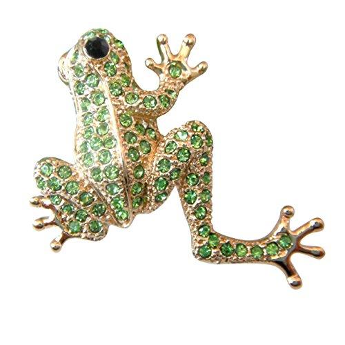 Navachi 18k Gold Plated Green Crystal Frog Az7794b Brooch pin