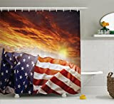 Ambesonne American Flag Decor Shower Curtain, Flag in Front of Sunset Sky with Horizon Light America Union Idyllic Photo, Fabric Bathroom Decor Set with Hooks, 70 inches, Multi