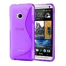 JKase Premium Quality HTC One (M7) Streamline TPU Case Cover - Retail Packaging - Purple