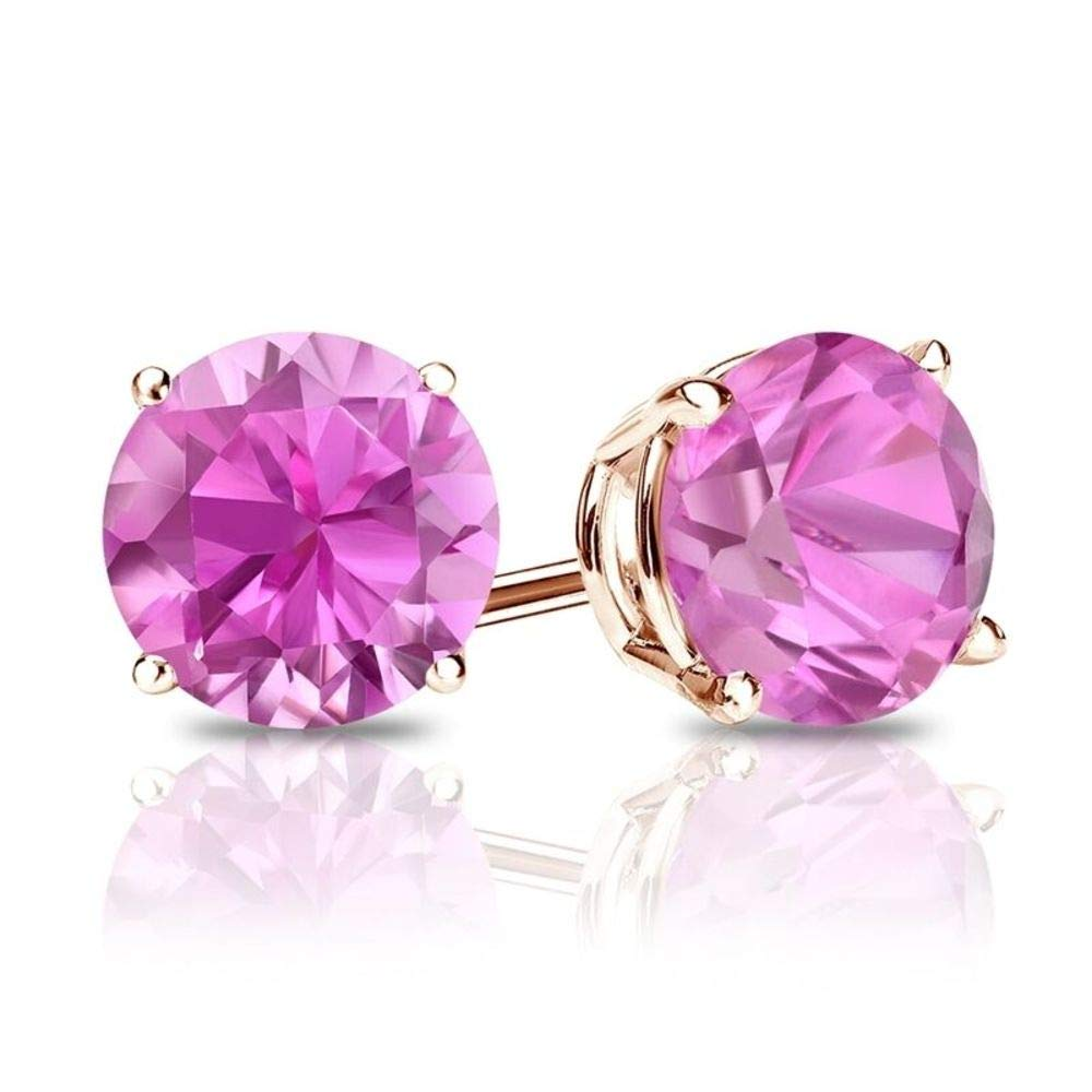 3.00 ct Round Brilliant Cut Pink Diamond Stud Earrings in 18k 750 Rose Gold Brilliant Cut Basket Screw Back