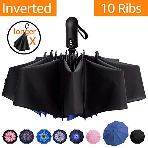 Reverse Folding Compact Travel Umbrellas for Women, Inverted Inside Out Sun Rain Woman Umbrella, Automatic Open Close, 10 Ribs