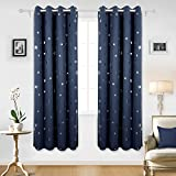 Deconovo Solid Thermal Insulated Blackout Curtains for Nursery with Silver Star Pattern 52 By 84 Inch Navy Blue 1 Pair