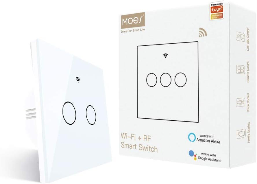 MOES Interrupteur mural intelligent RF433 avec fonction Wifi Alexa et Google Home Noir Aucun fil neutre n/écessaire,1 voie Interrupteur intelligent compatible avec Smart Life//Tuya App 1 Gang