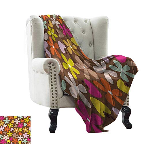"""RenteriaDecor Flower,Fashion Warm All Season Blanket Floral Decor with Daisies and Tulips Bud in Cartoon Style Brown Backdrop Art Print 90""""x70"""" Super Soft Cozy Throws Multicolor"""