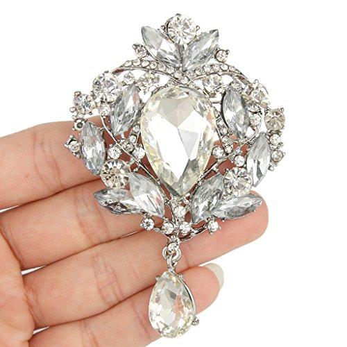 EVER FAITH Women's Austrian Crystal Elegant Leaf Teardrop Pendant Brooch Clear Silver-Tone Photo #3