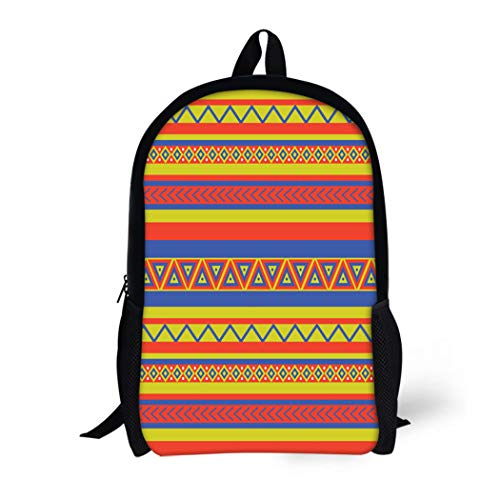 Pinbeam Backpack Travel Daypack Latin Bright Coloured Ethnical Mexican Geometric Pattern Southwest Waterproof School Bag