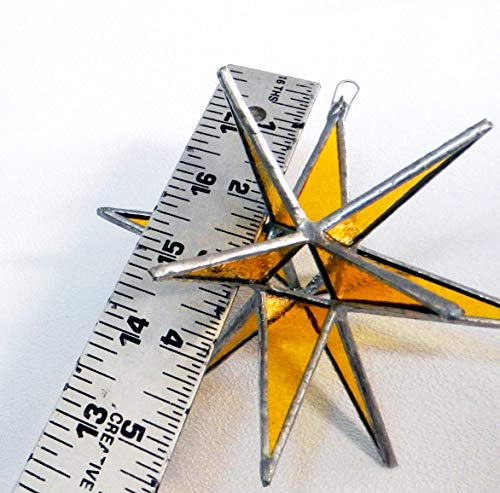 Gold Star, Stained Glass Star, Moravian Star, Yellow Star, Holiday Star, Christmas Star (Yellow Butterfly Stained Glass Suncatcher)