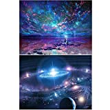 2 Packs 5D DIY Diamond Painting Paint by Numbers Kits for Adult, Night Sky & Fantasy Space Full Drill Diamond Embroidery Paintings Pictures Arts Craft for Home Decoration by INFELING