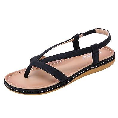 cb09dbfd89cf Yuan Casual Women s Sandals Wild Flat Shoes Bohemia Elastic Band Clip Toe  Beach Shoes Black