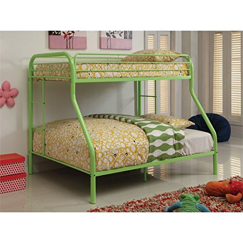 Furniture of America Non-Recycled Metal Bunk Bed, Twin Over Full, Green