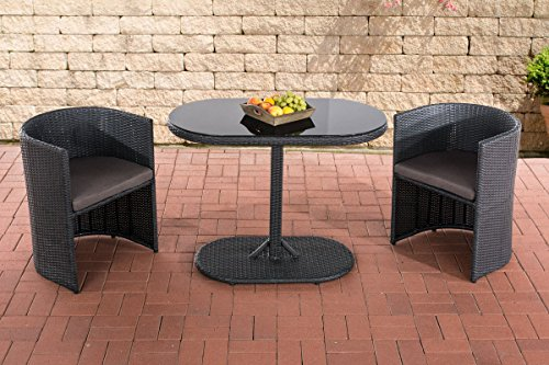 CLP Poly-Rattan Balkonmöbel Sitzgruppe ALENA, 2 Personen, Aluminium-Gestell, platzsparend + flexibel schwarz