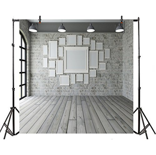 Leyiyi 4x4ft Photography Backgroud 3D Modern Room Interior Backdrop Vintage Brick Wall Arch Window Sunlight Wooden Floor Photo Frame Study Inside Living Room Corner Photo Portrait Vinyl Studio Prop