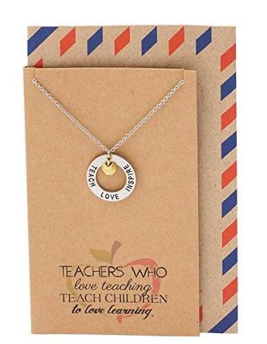 Quan Jewelry Teacher Necklace, Gold-Tone Apple Jewelry, Teachers Appreciation Gifts Motivational Charm, Teach Love Inspire Necklace and Thank You Card