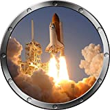 "12"" Porthole Instant Outer Space Ship Window View SHUTTLE TAKE-OFF #1 SILVER Wall Sticker Kids Decal Room Home Art Décor Graphic SMALL"