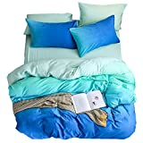 Zhiyuan Gradient Washable Cotton Duvet Cover Flat Sheet Pillowcase Set, Blue and Aqua, Full