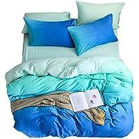 Zhiyuan Gradient Washable Cotton Duvet Cover Flat Sheet Pillowcase Set