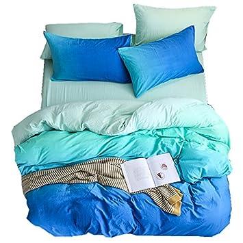 Zhiyuan Gradient Washable Cotton Duvet Cover Flat Sheet Pillowcase Set, Blue and Aqua, Full