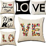 LOVE Series Decorative Cushion Cover Square Throw Pillow Case Set...