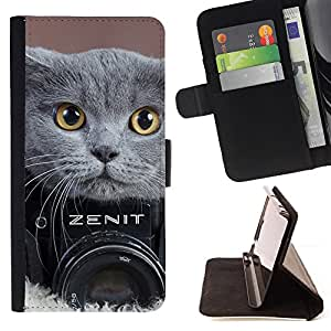 For LG OPTIMUS L90 CUTE BRITISH SHORTHAIR CAT PHOTOGRAPHY Style PU Leather Case Wallet Flip Stand Flap Closure Cover
