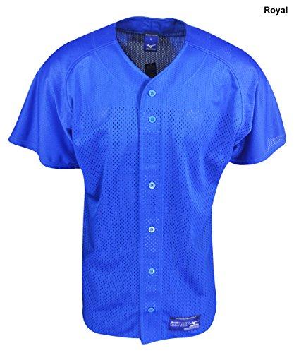 Mizuno Boy's Full Button Mesh Short Sleeve Baseball Jersey, Royal , (Kids Baseball Jersey)