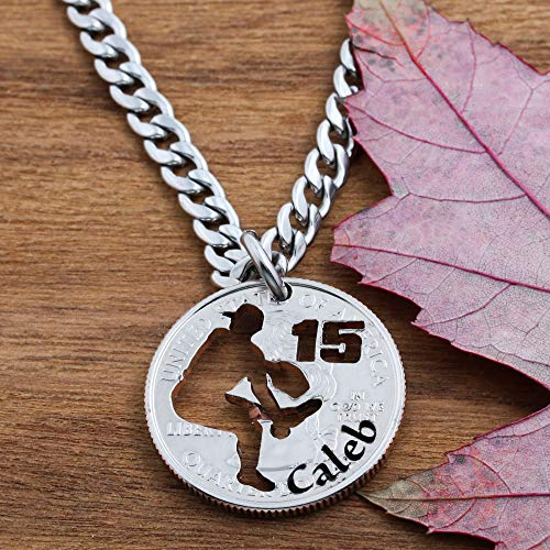 l Pitcher Necklace, Engraved Name and Jersey Number, Baseball and Softball Necklace, hand cut coin Jewelry, by Namecoins ()