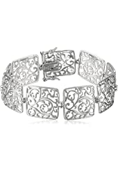 Rhodium-Plated Sterling Silver Filigree Bracelet, 7.25""