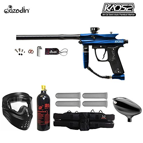 Double Trigger Paintball Guns - MAddog Azodin Kaos 2 Starter CO2 Paintball Gun Package - Blue/Black