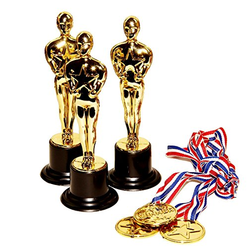Necklace - Gold Plastic Award Honor Medal Trophies - Toy Cubby Pack of 12 Medal Necklaces and Oscar Design Star Academy Figure Trophies. Ideal For: Contests, Champions, Rewards, Competition... (Trophy Figure Gold)