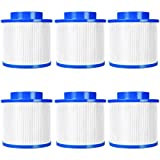 Goplus Massage Pool Filter Cartridge Spa Filter Pump Replacement 120 Fold White Filter Paper for Many Massage Pool Models(6-Pack)