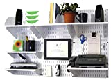 Modern Versatile Office Wall Mount Storage and Organization to Keep Your Office Well Organized and Space Saving (Organizer Kit White & White)