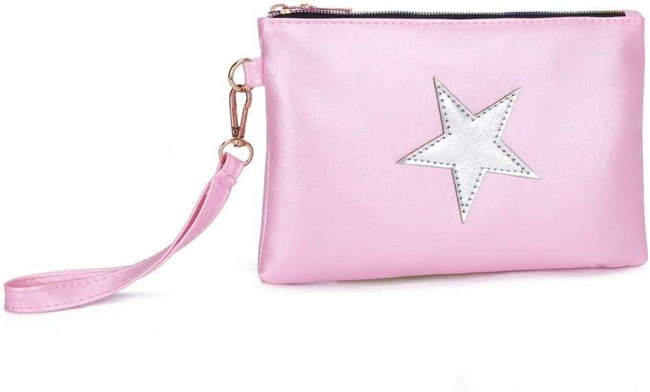 Gimax Coin Purses Women Coin Purse Fashion Leather Star Pattern Zipper Clutch Bag Coin Bag Makeup Pouch Bag Travel Accessories Color: C
