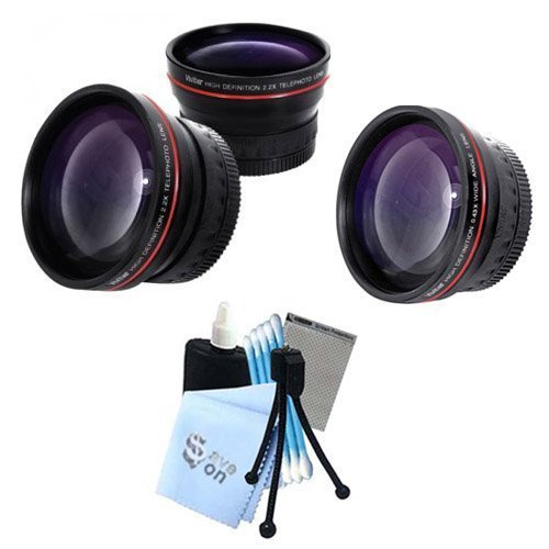 Vivitar Series 1 RedLine Bundle HD 2 2X Telephoto Lens & HD 0 43X Wide Angle Lens w/ Complete Cleaning Kit for Canon G5 46mm SLR Camerasの商品画像