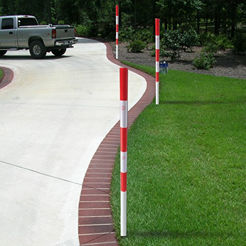 FiberMarker 48-Inchx1.8-Inch U-Post Driveway Markers with Red White Reflective Tape(2pack)