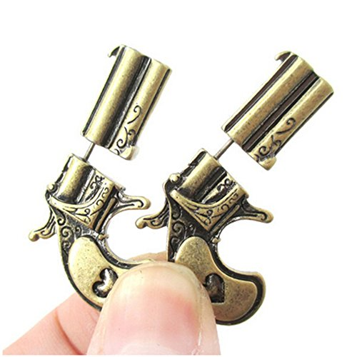 Elakaka Women's Bold Personality Pistol Perspective Ancient Bronze Retro Earrings