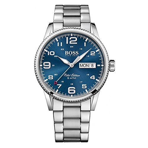 UPC 885997186490, Hugo Boss Pilot Vintage 1513329 Silver / Blue Stainless Steel Analog Quartz Men's Watch